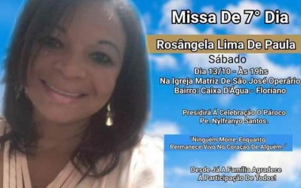Missa de sétimo dia de Rosangela de Paula acontece neste sábado.(Imagem:Divulgação)