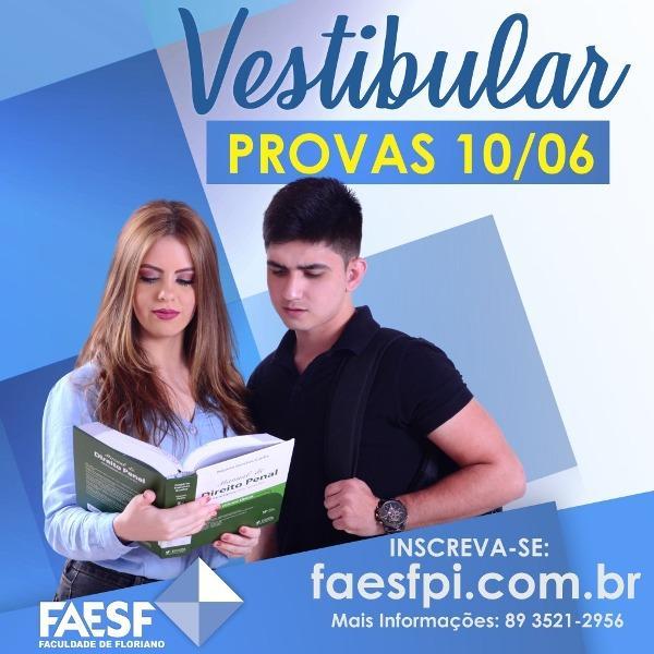 Inscrições para o Vestibular 2018.2(Imagem:FAESF)