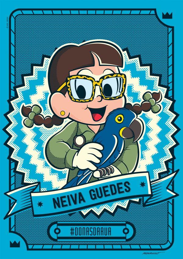 A bióloga Neiva Guedes, responsável por tirar as araras azuis da lista de animais em extinção, ganhou traços de uma personagem da Turma da Mônica(Imagem:Divulgação)