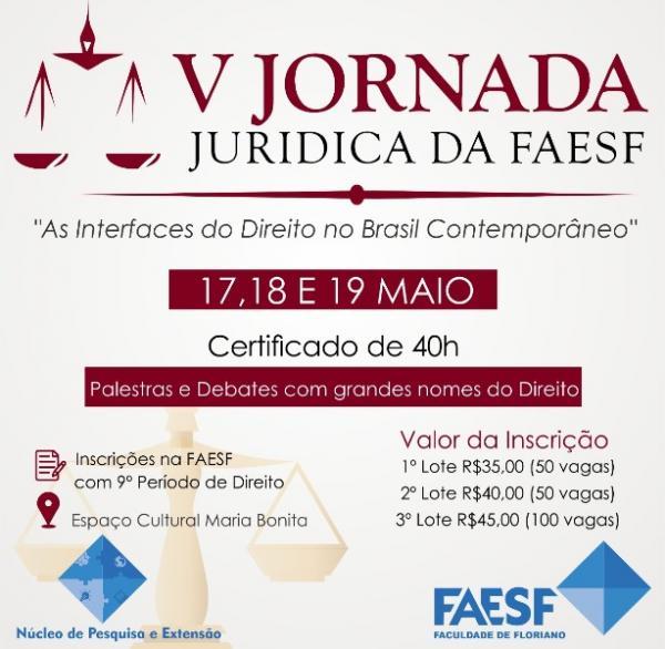 V Jornada Jurídica da FAESF será realizada no mês de maio em Floriano.(Imagem:FAESF )