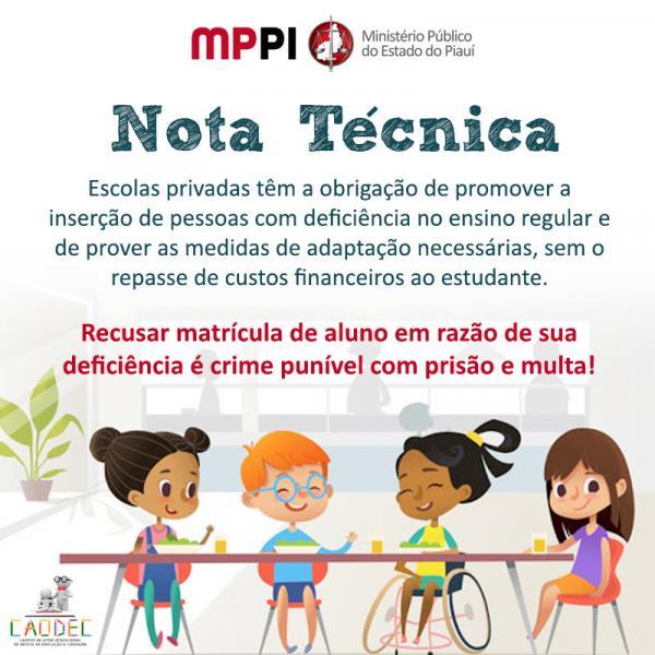 MPPI emite nota técnica sobre a inserção de pessoas com deficiência no ensino regular(Imagem:Reprodução/ MPPI)