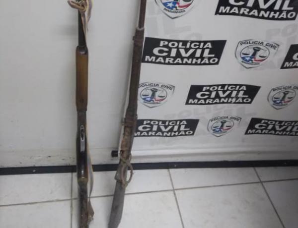 Polícia Civil de Barão de Grajaú cumpre mandado e apreende armas de fogo.(Imagem:Polícia Civil)
