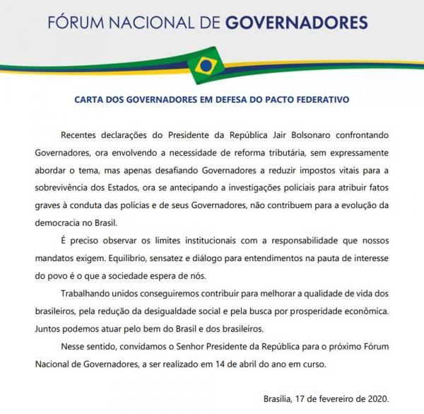 Carta de governadores enviada ao presidente Jair Bolsonaro(Imagem:Reprodução)