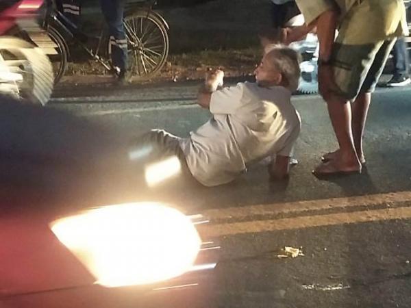 Idoso é atropelado por motocicleta em Barão de Grajaú.(Imagem:FlorianoNews)