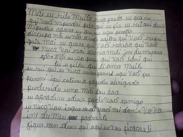 Carta foi entregue à mãe durante visita antes da transferência de Gleison para o CEM.(Imagem:Ronaldo Mota)