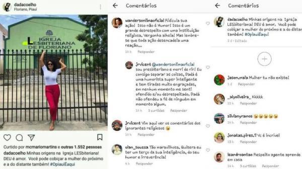 Dadá Coelho causa polêmica ao fazer comentário homofóbico à igreja de Floriano.(Imagem:Reprodução)