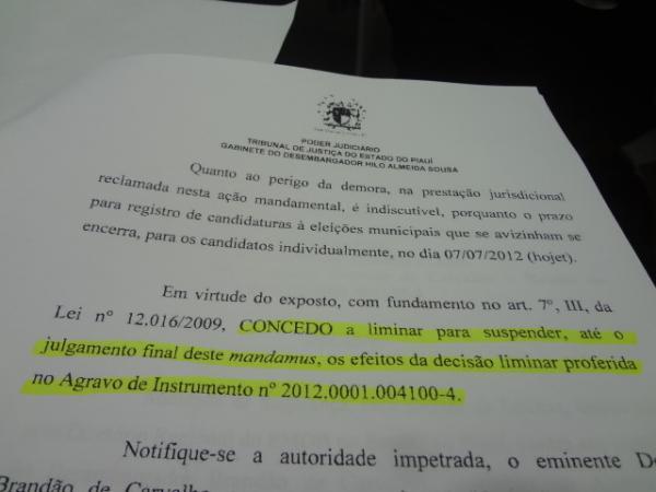 Liminar concedida pelo Des. Brandão de Carvalho é suspensa, diz Advogado Pascoal Cortez.(Imagem:FlorianoNews)