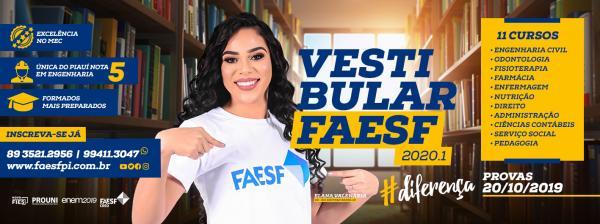 FAESF: Inscrições abertas para o Vestibular 2020.1(Imagem:Divulgação)