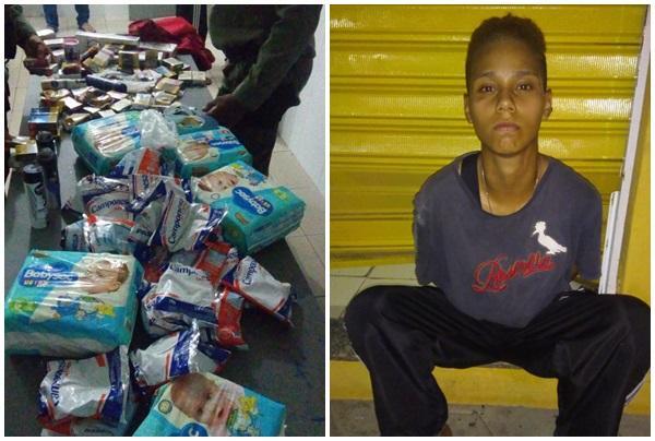 PM de Floriano apreende diversos produtos roubados por ex-presidiário.(Imagem:Divulgação/PM)