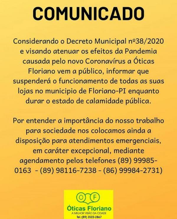 Óticas Floriano suspendem atendimentos(Imagem:Divulgação)