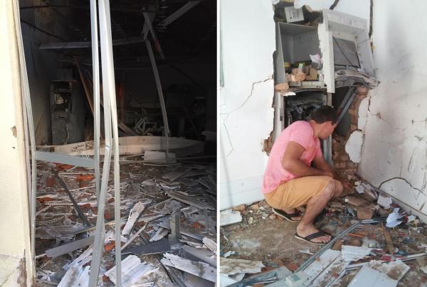Posto de atendimento do Bradesco, em Jerumenha, ficou destruído após explosão.(Imagem:Divulgação/Polícia Militar)