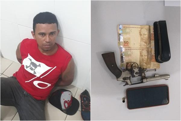 PM prende suspeito de roubos a transeunte em Floriano (Imagem:Polícia Civil)