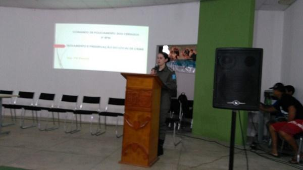Militares participam de palestra sobre Isolamento e Preservação de Local de Crime.(Imagem:Divulgação/PM)
