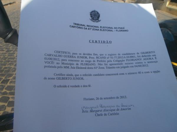 Gilberto Júnior rebate falsos boatos e comentários contra sua candidatura.(Imagem:FlorianoNews)