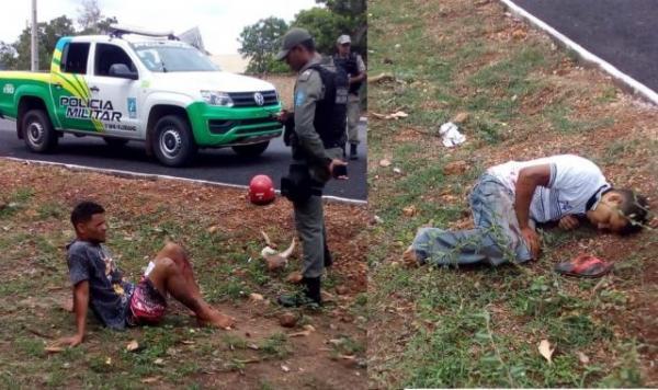 Dupla sofre acidente de moto durante tentativa de fuga da Polícia em Floriano.(Imagem:Piauínoticias)
