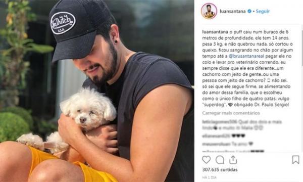 Cachorro de Luan Santana cai em buraco de seis metros e assusta cantor.(Imagem:Reprodução/Instagram)