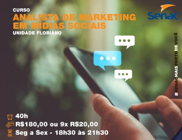 Senac de Floriano promove curso de Analista de Marketing em Mídias Sociais.(Imagem:Senac)