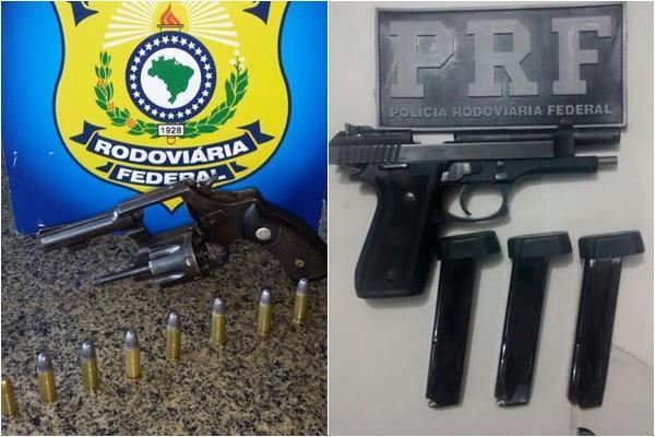 Armas e munições apreendidas(Imagem:PRF)