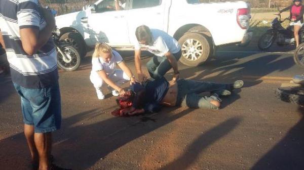 Motociclista fica gravemente ferido em acidente em Barão de Grajaú.(Imagem:Reprodução/Whats App)