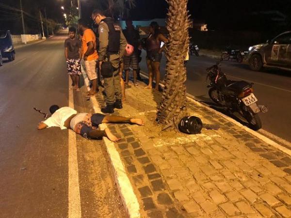 Homem fica ferido em acidente na Avenida Calisto Lobo.(Imagem:FlorianoNews)