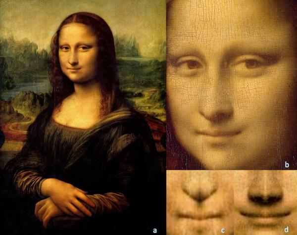 A: A Mona Lisa de Leonardo da Vinci (Museu do Louvre, Paris). B: O rosto de Mona Lisa C: Imagem quimérica do lado esquerdo do sorriso de Mona Lisa. D: Imagem quimérica do lado dire(Imagem:Università la Sapienza)