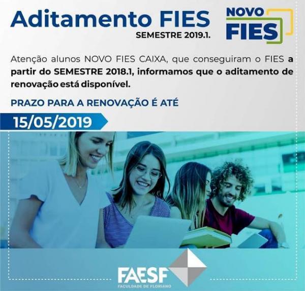 FAESF comunica que aditamento de renovação do FIES se encerra no mês de maio.(Imagem:Divulgação)