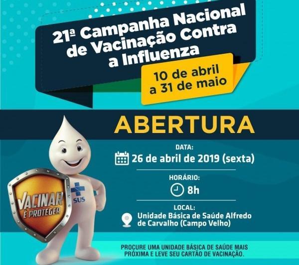 Abertura da Campanha de Vacinação em Floriano acontece na próxima sexta (26).(Imagem:SECOM)