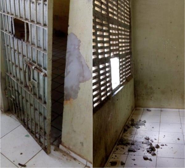 Criminosos arrombaram delegacia para resgatar preso no Piauí.(Imagem:Eduardo Garcess/Portal Rio Parnaíba)