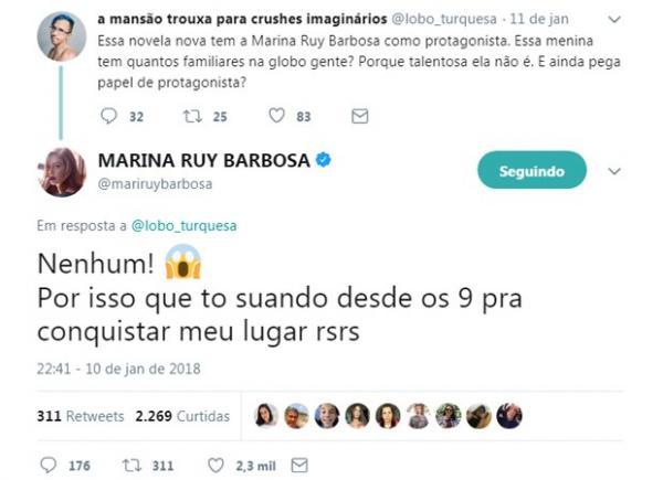 Marina Ruy Barbosa responde comentário de usuário de rede social.(Imagem:Reprodução/Twitter)