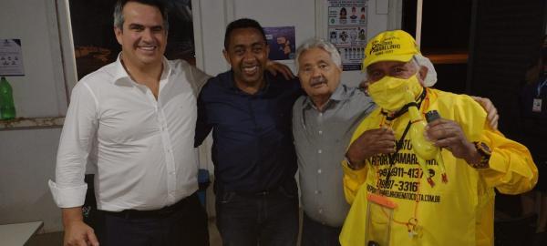 Ministro da Casa Civil Ciro Nogueira, prefeito Joel Rodrigues, senador Elmano Ferrer e repórter Amarelinho(Imagem:FlorianoNews)