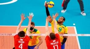 Brasil perde para Rússia por 3 sets a 0 no vôlei masculino em Tóquio(Imagem:Reprodução)