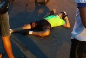 Ciclista florianense sofre tombo ao desviar de crianças em Barão de Grajaú.(Imagem:Piauinoticias)