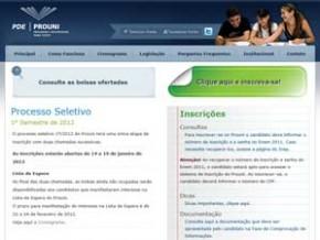 Site do Prouni (Imagem:Reprodução)