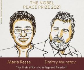 Os jornalistas Maria Ressa, das Filipinas, e Dmitri Muratov, da Rússia, ganharam o prêmio Nobel da Paz de 2021. O anúncio foi feito na manhã desta sexta-feira (8) pelo comitê norue(Imagem:Reprodução)