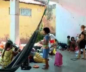 Venezuelanos são levados para abrigo na zona Norte de THE.(Imagem:Reprodução)