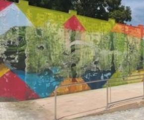 A arte da iguana gigante foi pintada em muro de concreto que abrange toda a extensão lateral do parque.