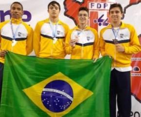 Joabe Carvalho conquista bronze com revezamento do Brasil na Copa Pacífico de Natação.(Imagem:Arquivo pessoal)