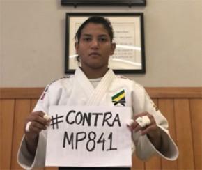 Sarah e judocas da seleção se posicionam contra a Medida Provisória nº 841.(Imagem:CidadeVerde.com)