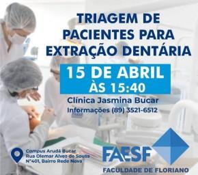 FAESF realiza triagem de pacientes para extração dentária.(Imagem:Divulgação)