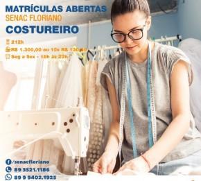 Senac de Floriano promove curso de Costureiro.(Imagem:Divulgação)