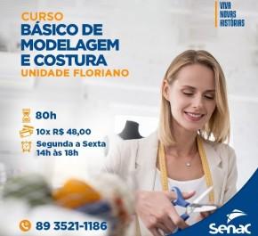 Senac Floriano está com matrículas abertas para curso básico de Modelagem e Costura.(Imagem:Divulgação)