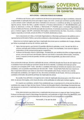 Nota oficial concurso público de Floriano(Imagem:Divulgação)