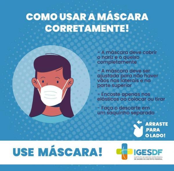 Como usar a máscara corretamente!(Imagem:Divulgação)