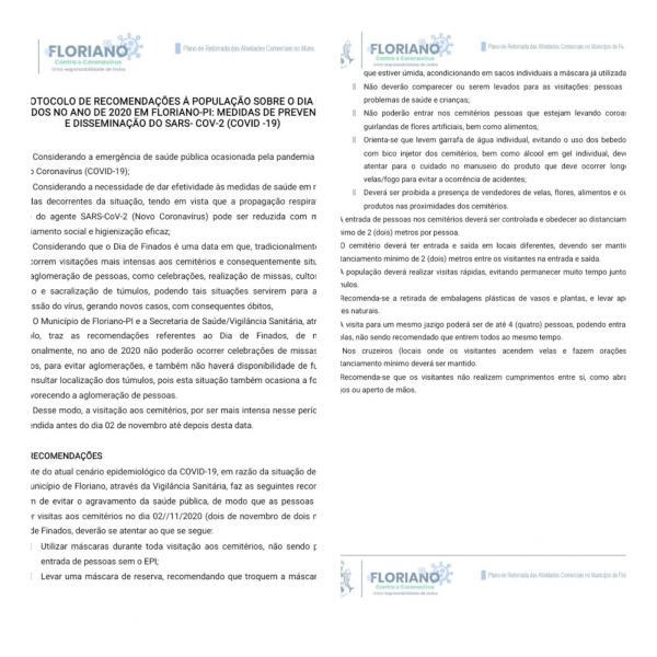 Prefeitura de Floriano divulga protocolo para o Dia de Finados(Imagem:Divulgação)