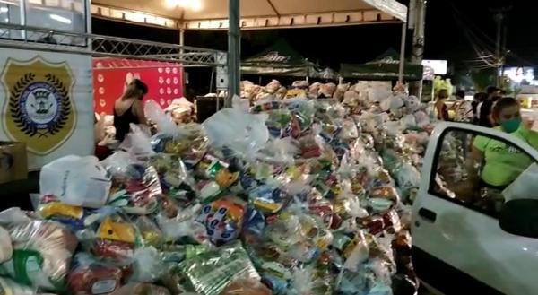 Campanha prato cheio arrecada mais de 7 toneladas de alimentos.(Imagem:Reprodução/TV Clube)