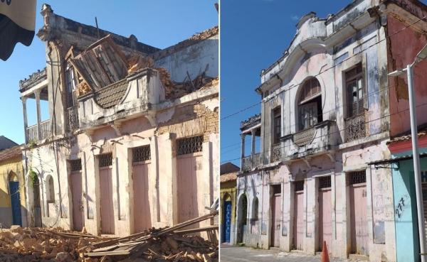 Como ficou e como era o casarão libanês que desabou em Floriano, no Sul do Piauí.(Imagem:Reprodução)