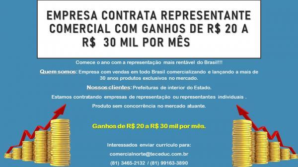 Empresa contrata representante comercial com ganhos de R$ 20 a R$ 30 mil por mês.(Imagem:Divulgação)
