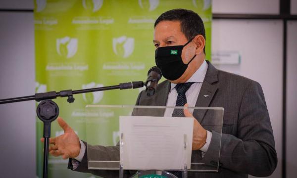 O vice-presidente Hamilton Mourão, durante entrevista coletiva(Imagem:Romério Cunha)
