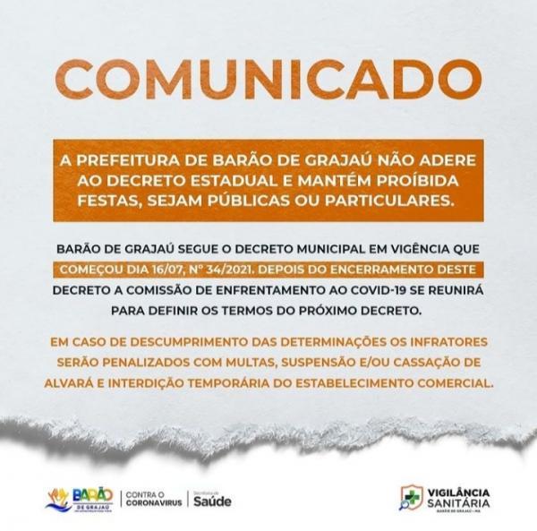 Barão de Grajaú não adere ao decreto estadual e mantém a proibição de festas.(Imagem:Divulgação)