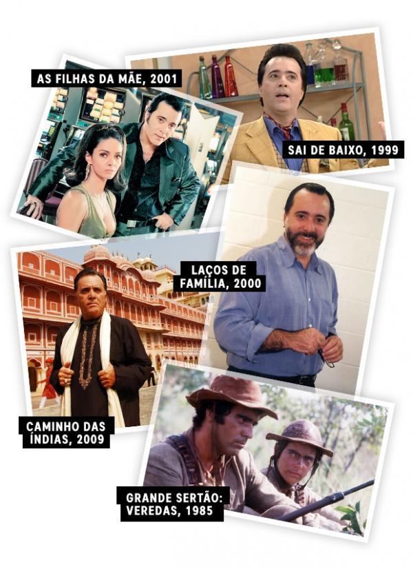 Tony Ramos com diferentes caracterizações ao longo da carreira na TV.(Imagem:Divulgação/TV Globo)